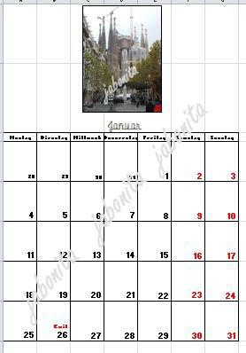 Kalenderblatt in exel erstellt