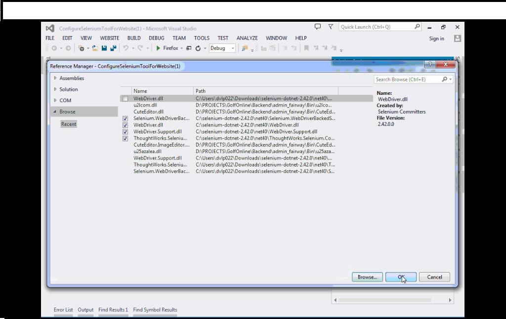 Selenium : Configure selenium tool for asp.net C# website or project in Visual Studio