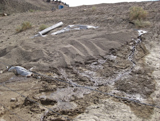 Filter fabric and then granular pea gravel placed over an area on the downstream slope of a dam to control excessive or unusual seepage