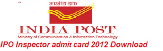 Download IPO Inspector admit card 2012