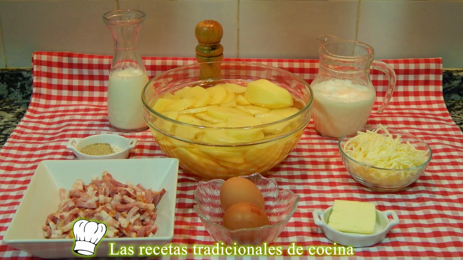 Receta de pastel de patatas y beicon