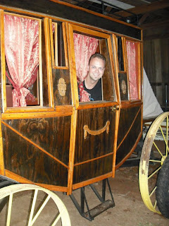 antique stage coach and movie prop