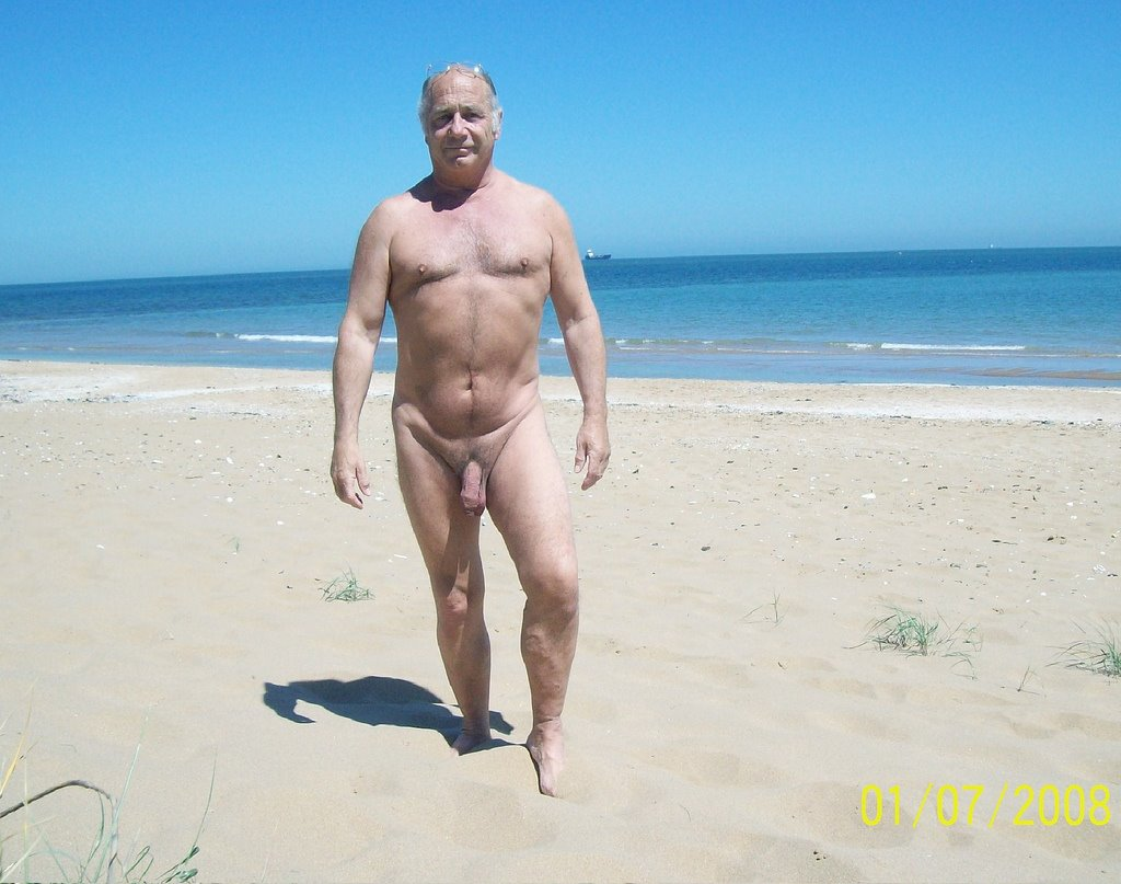 Naked old men on beach