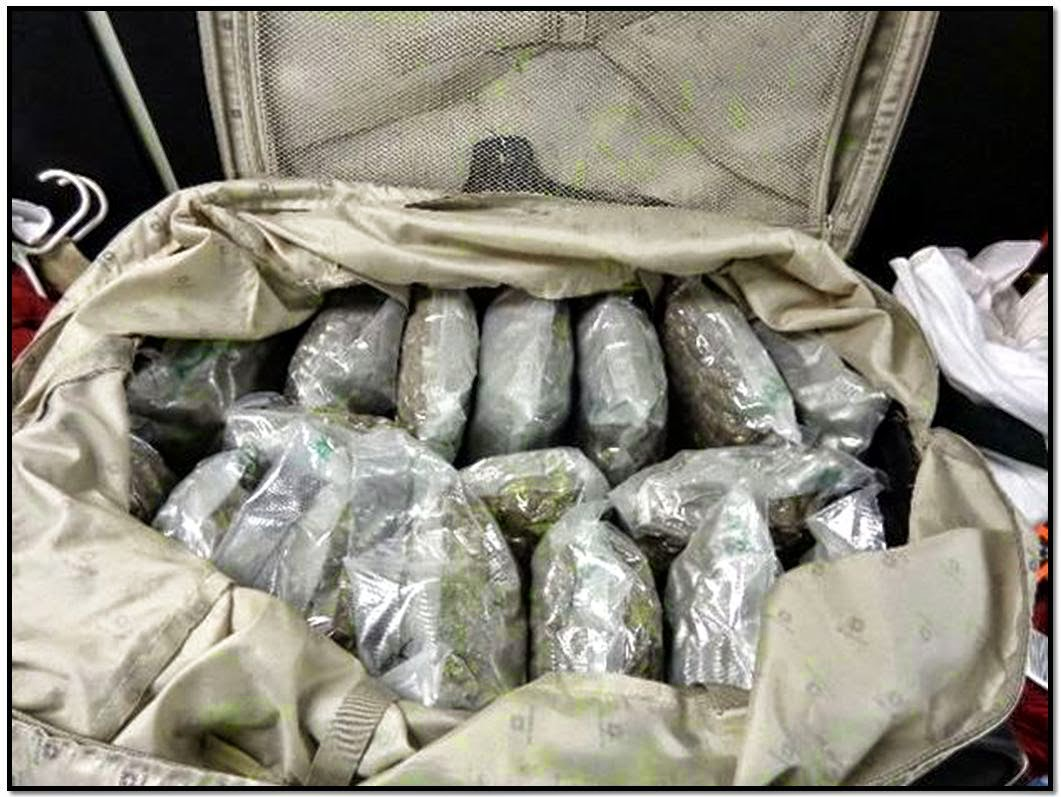 80 pounds of marijuana discovered in checked bag at CRQ