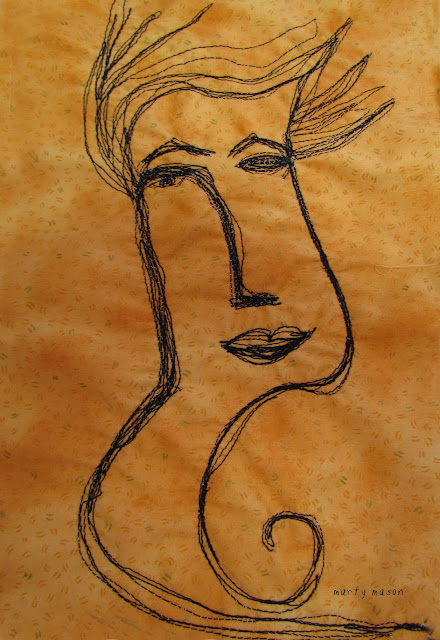 Thread sketched Panera Bread Lady....an almost look alike by Marty Mason