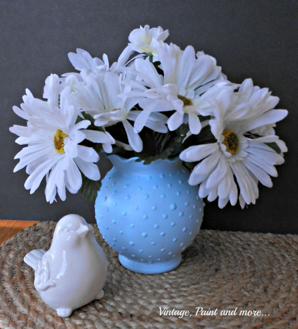 "Vintage, Paint and more... ""faux"" DIY vintage blue hobnail glass made from Dollar Tree vase and craft paint"