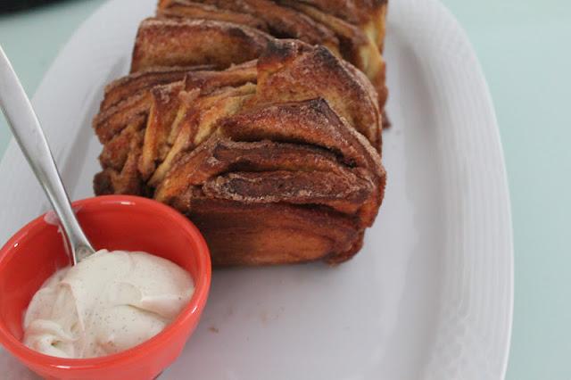 Cinnamon-sugar pull-apart bread with Madagascar vanilla creme fraiche