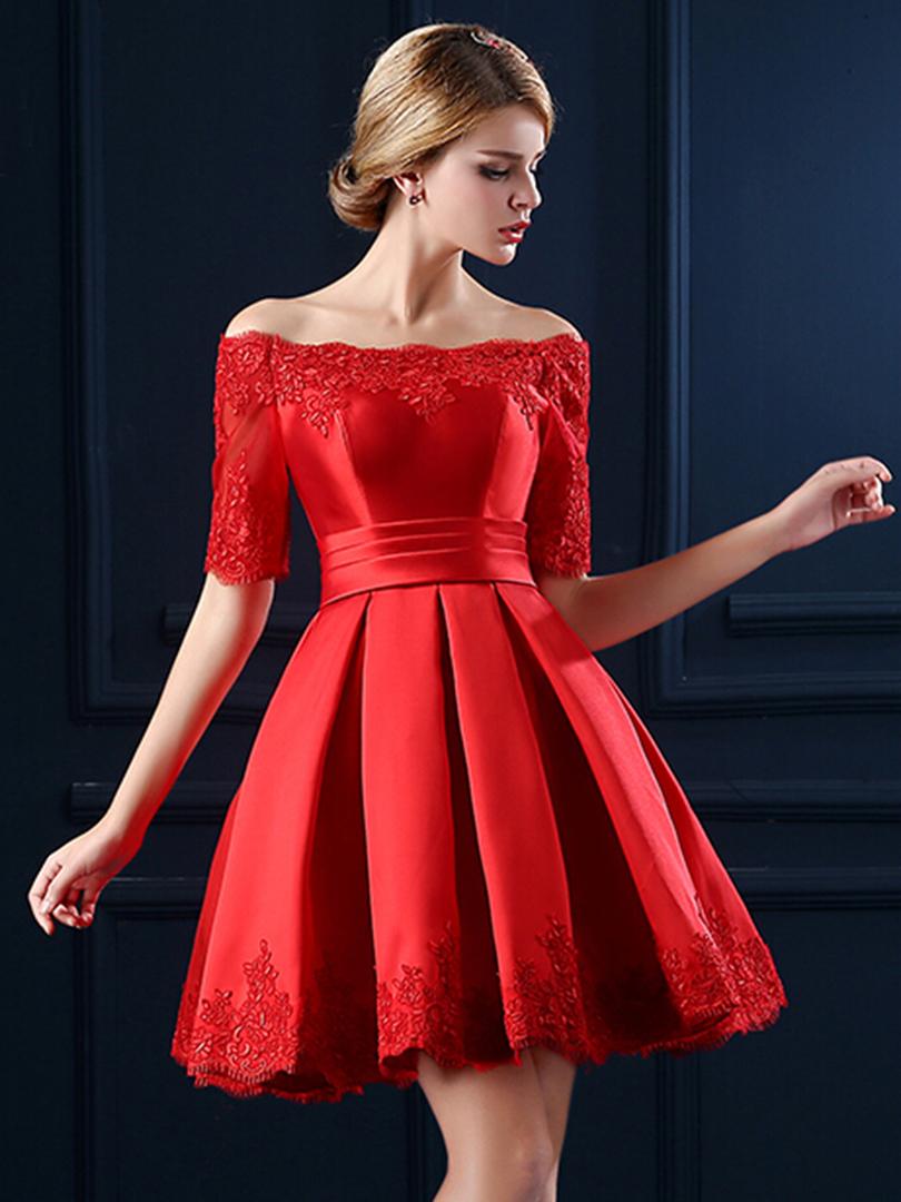 Фото красных платьев с юбкой