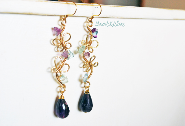 Orecchini farfalle fluorite beads&amp;wires