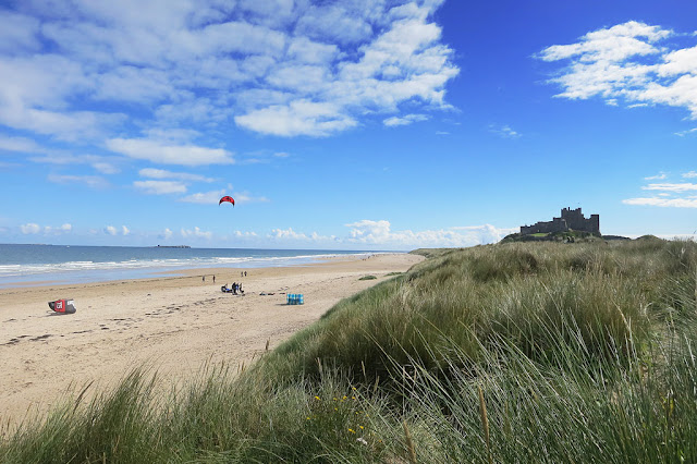 bambugh beach kite flying
