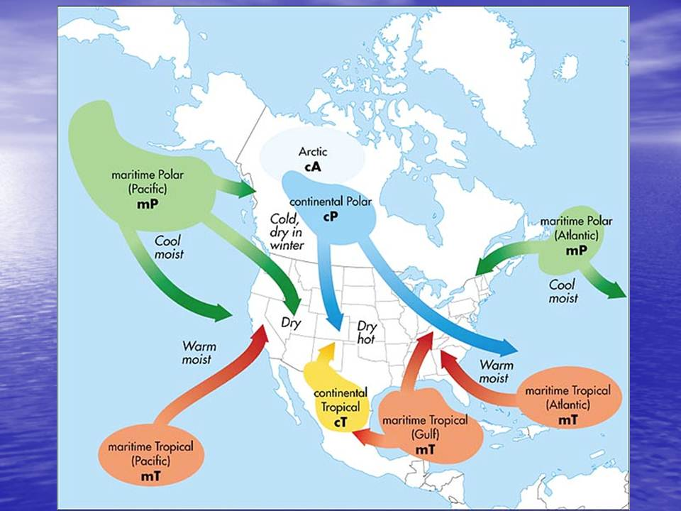 Geography A Daily Weather Observation Journal Maps And Images - Air masses map of us hot dry cool moist