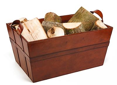 leather log basket