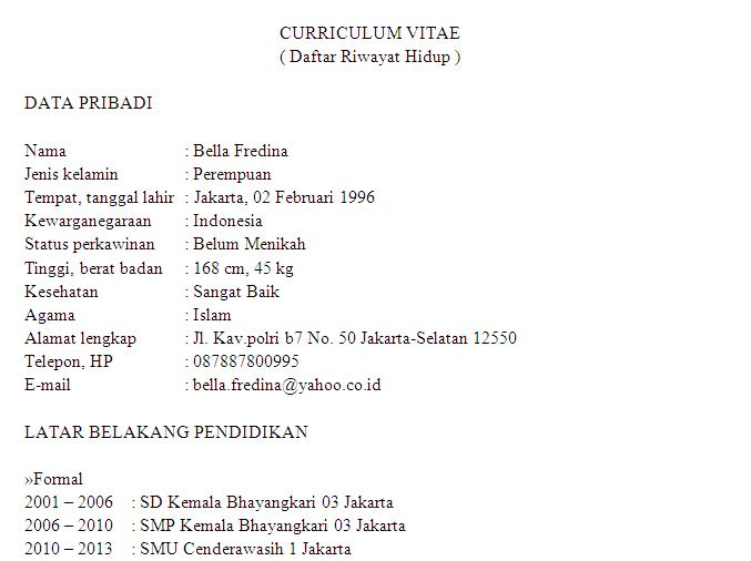 Contoh Cv Curriculum Vitae Daftar Riwayat Hidup Untuk Lamaran Pekerjaan