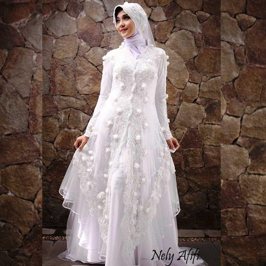 Baju Kebaya Pengantin Muslim Warna Putih