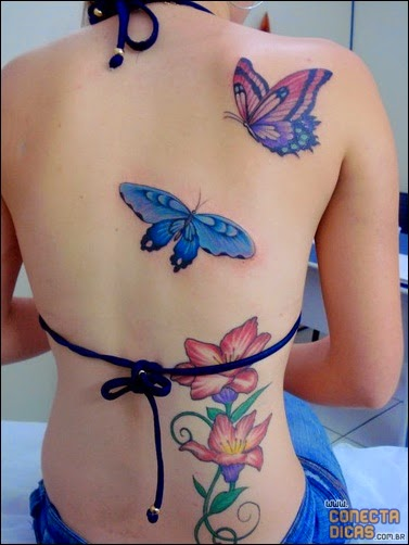 Borboleta Tatuagens Femininas nas costas