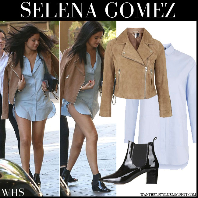 Selena Gomez in camel suede biker jacket, light blue shirt and black ankle boots from topshop what she wore july 31