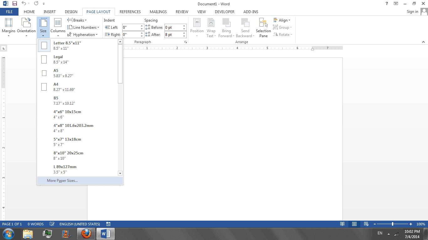 Berbagai ukuran kertas pada ms word
