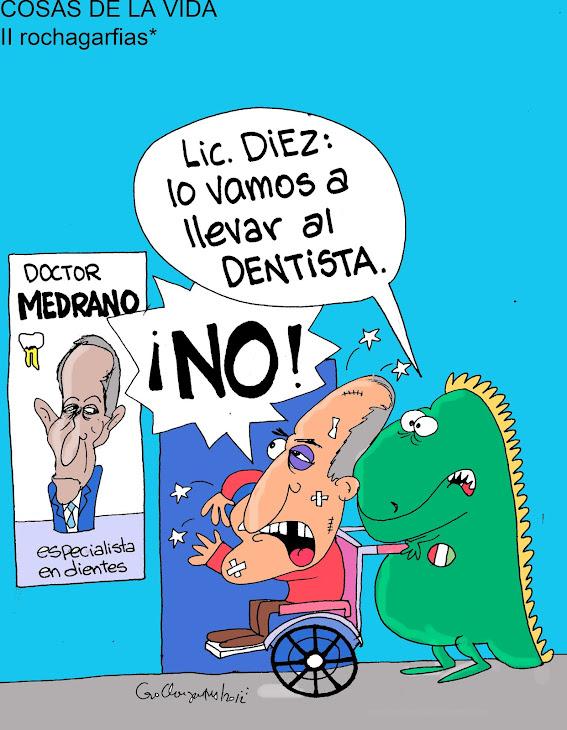 COSAS DE LA VIDA: Juan Manuel Díez, a punto de irse a arreglar su diente con Luís Medrano.
