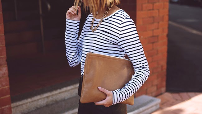 cluctch, leather, latte, navy, white, stripe, striped shirt, permanent line,