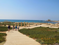 Picnic grounds, harbor walk and columns of Caesarea, Israel