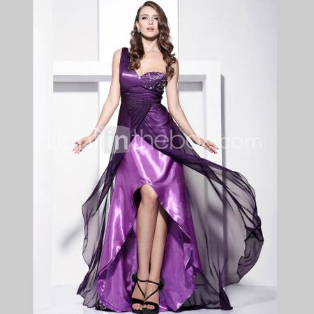 Дълга вечерна рокля на два слоя от сатен и шифон в лилаво и черно