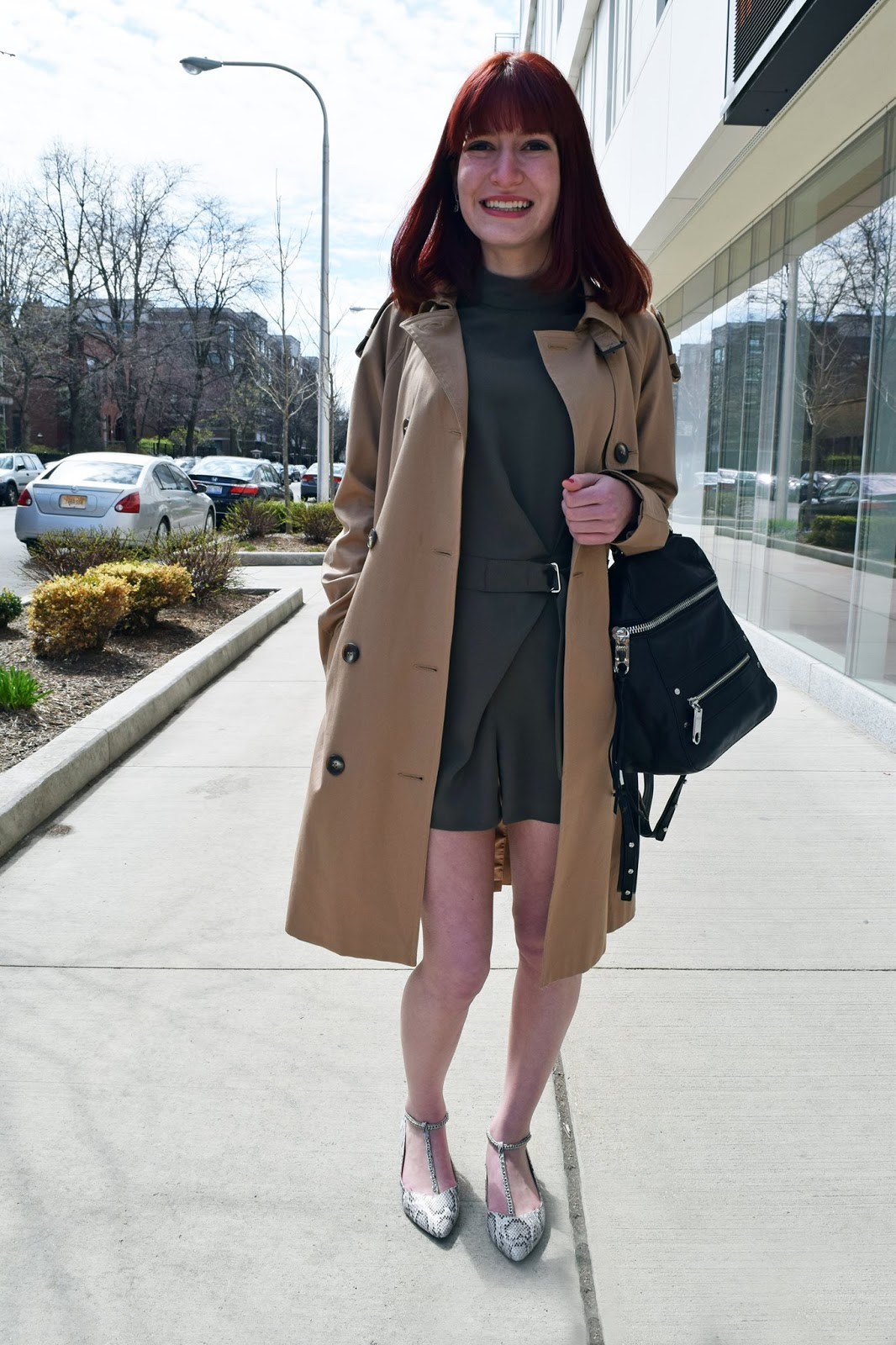 topshop d-ring romper, topshop trench coat, topshop flats, college fashionista depaul, leather milly backpack