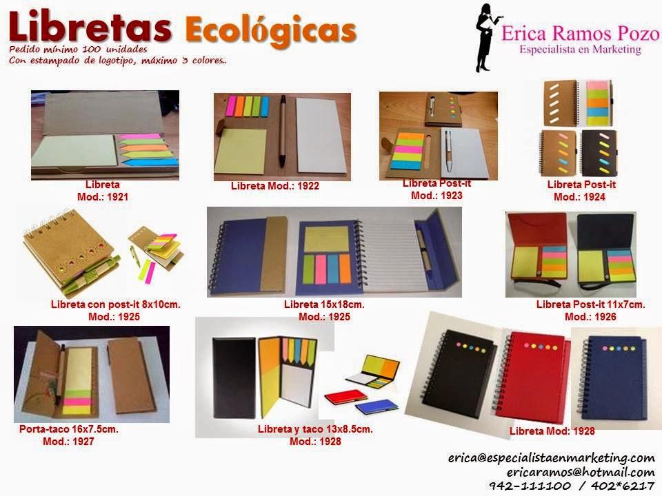 libretas ecologicas, lapiceros ecologicos, cuadernos ecologicos, post-it