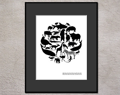 circle of a to z animal silhouettes