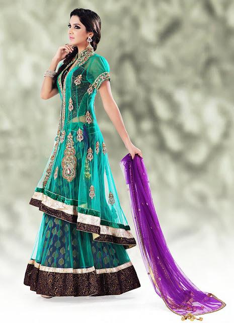 Bridal sarees indian bridal sarees bridal sarees for parties - Long Choli For Brides Bridal Long Choli Amp Lehenga