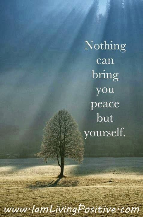 nothing can bring you peace but yourself Nothing can bring you peace but yourself as human beings we all want to be happy and free from misery we have learned that the key to happiness is inner peace.