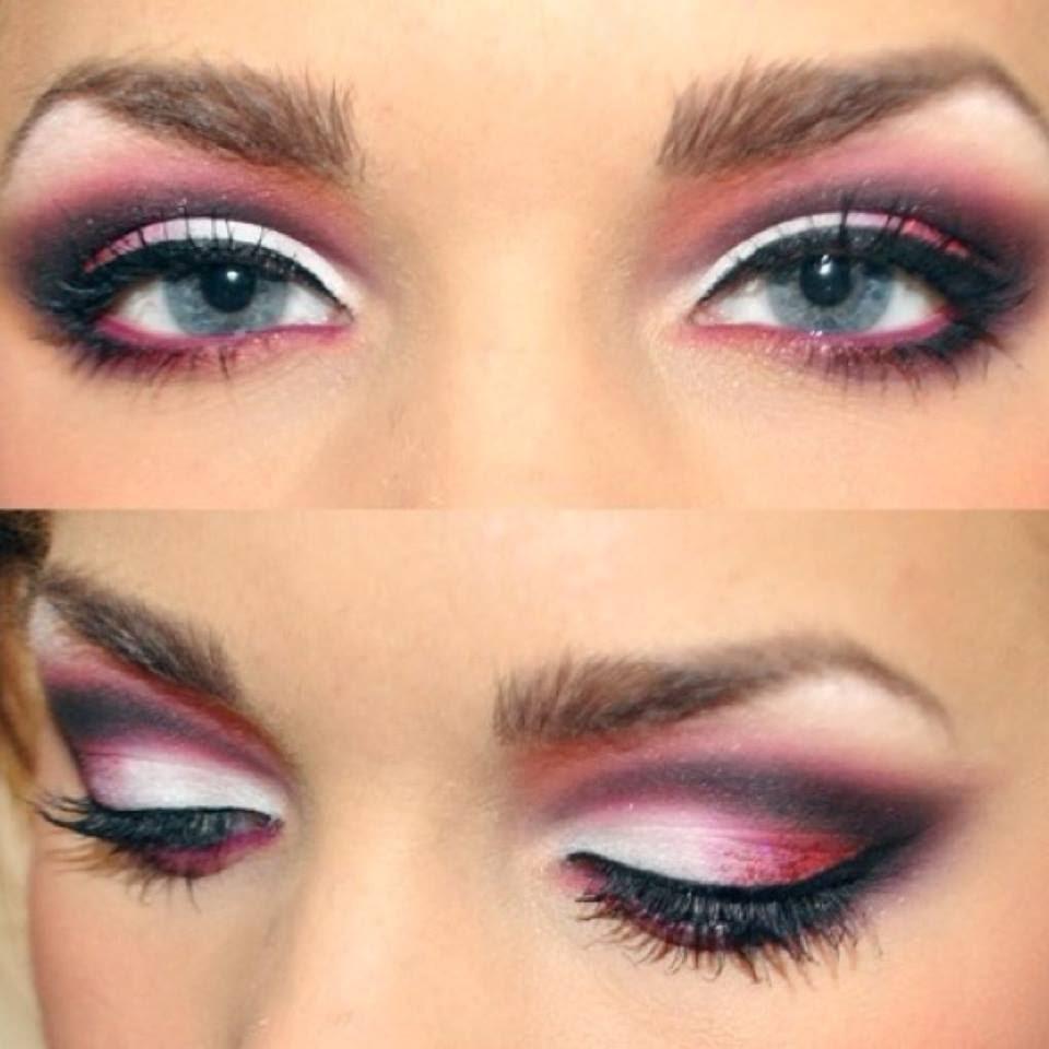 Макияж под розовое платье и серых глаз