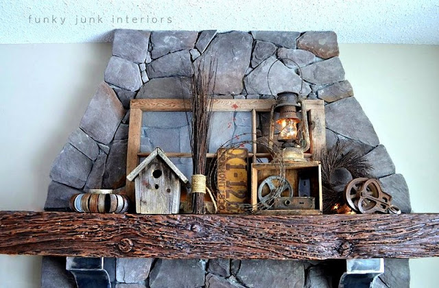 How to decorate a junk style mantel via http://www.funkyjunkinteriors.net