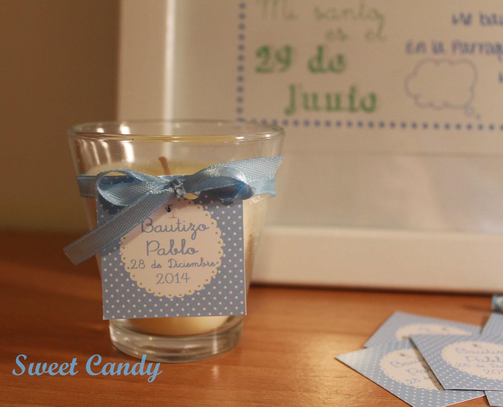 Sweet candy velas para el bautizo de pablo - Etiquetas para velas ...