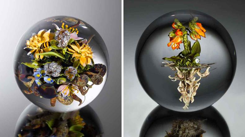 Impresionantes jardines en miniatura encerrado en orbes de vidrio transparente