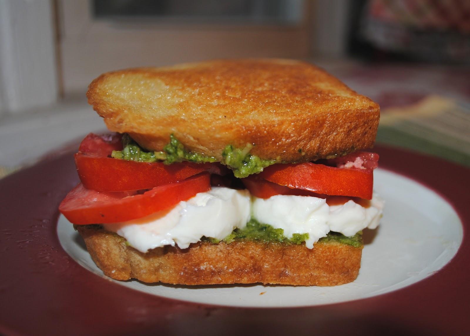 Homemade Basil Pesto, Tomato, and Mozzarella Sandwiches