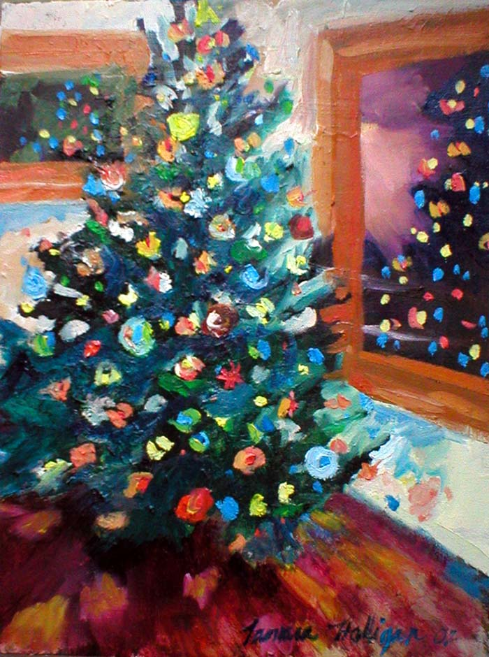 Knitting architect christmas tree oil painting and new