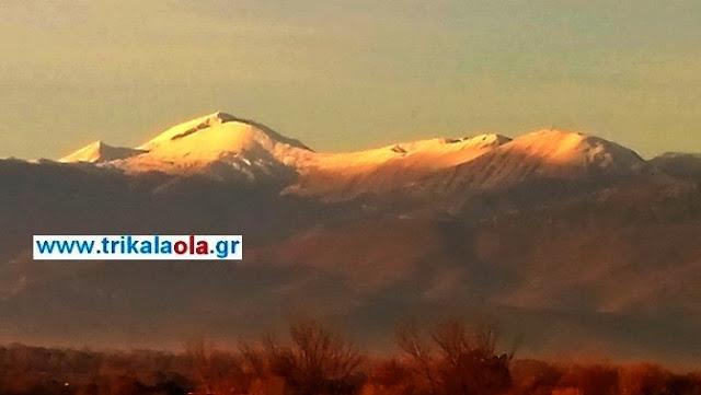 Με -3 βαθμούς Κελσίου ξύπνησαν τα Τρίκαλα… Χιονισμένες οι βουνοκορφές των Αγράφων