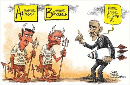 Obama Political Cartoon on Syria: Which Devil Shall I Bomb?
