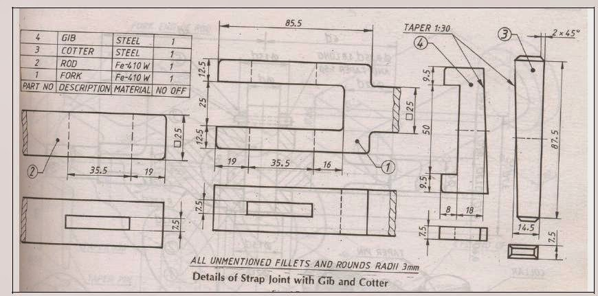 Trust me i am an engineer jntuk mechanical 2 2 r 10 machine drawing the most important and valuable machine drawing questions cotter joint assembly drawing ccuart Images