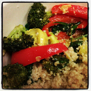 Whole wheat couscous with roasted veggies