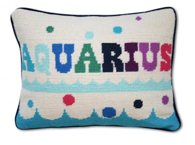 Jonathan Adler Aquarius needle point pillow
