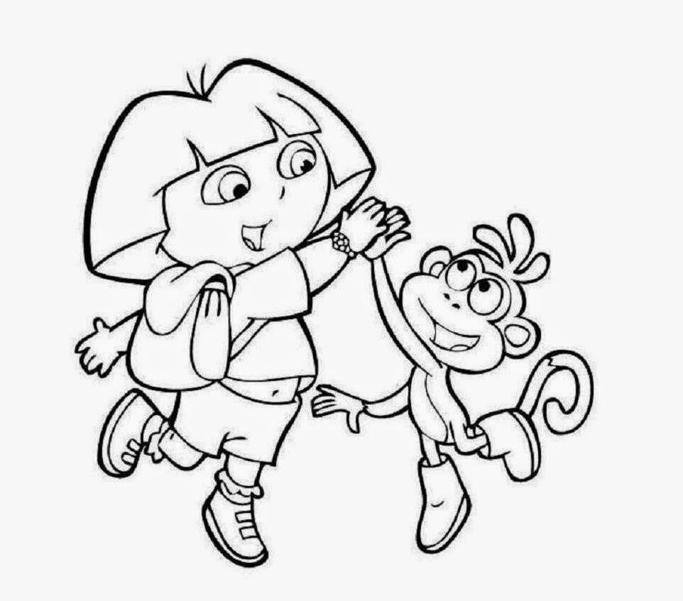 Dora And Boots Coloring Drawing Free wallpaper