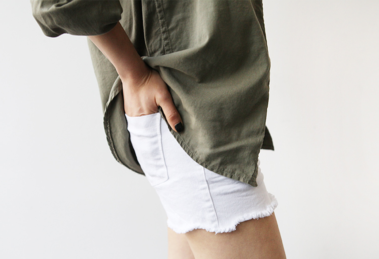 Olive green oxford oversized shirt, white denim cutoffs