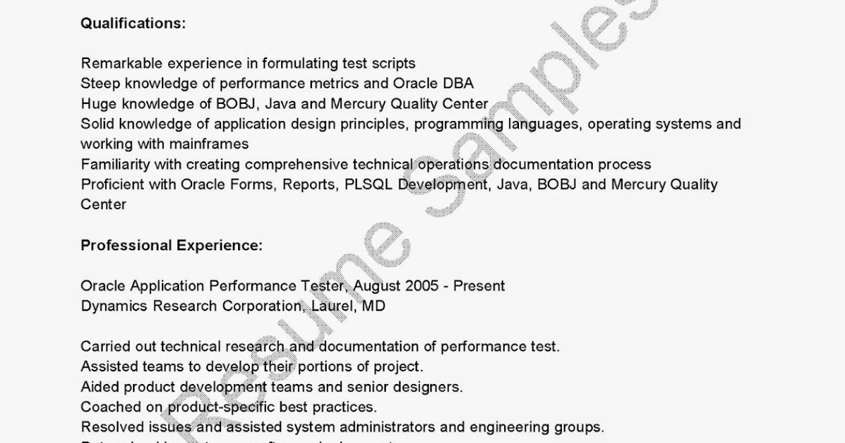 Performance Resume Template Performance Testing Resume Loadrunner