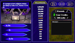 http://www.cogwriter.com/quizzes/whowantstobeabiblicalmillionairegame/millionaire_game.html