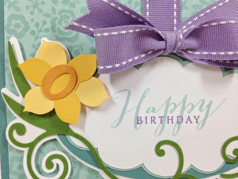 Cricut Floral Frame Birthday Card closeup left