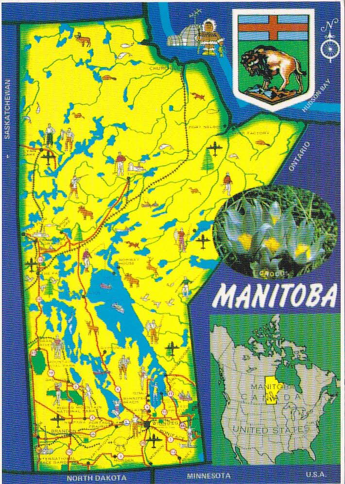 Carte Canada Manitoba.Postcard A La Carte 2 Canada Manitoba Province Map