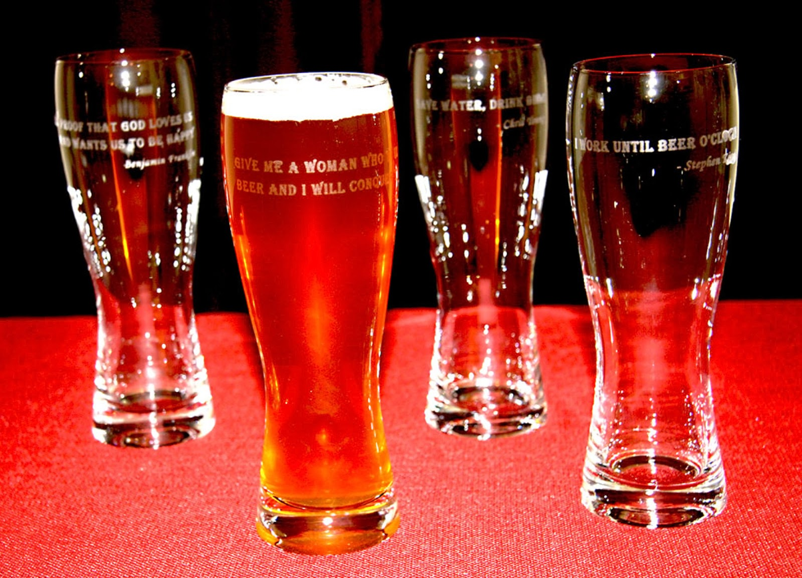 Beer glasses etched using StencilPro silk screen stencil and Armour Etch
