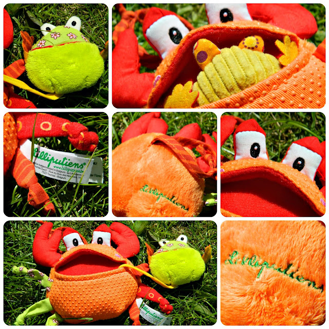 Close up and colours and textures of Lilliputiens Oscar the Greedy Crab pram toy from The Toadstool