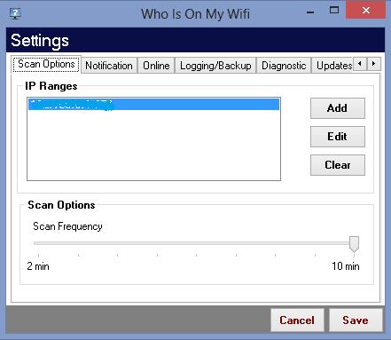 Scopri gratis chi ruba connessione wifi - Scan Options